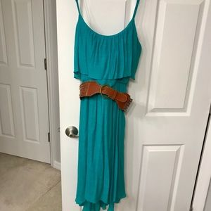Maurices Teal High Low Dress with Brown Belt XL